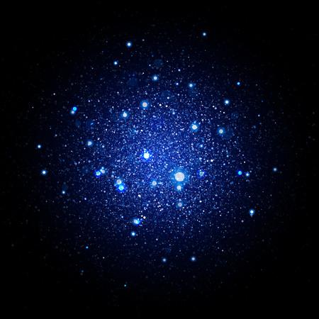 Bleu glitter particules effet de fond. texture mousseux. la poussière d'étoiles étincelles dans une explosion sur fond noir.