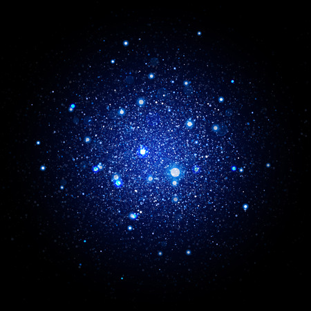 Blue glitter particles background effect. Sparkling texture. Star dust sparks in explosion on black background.