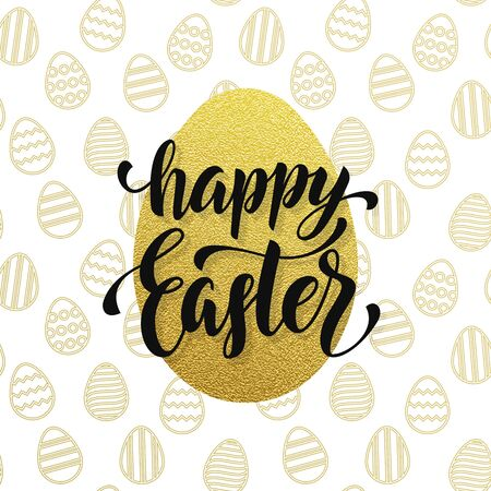 gold egg: Easter poster gold egg with and seamless pattern background.