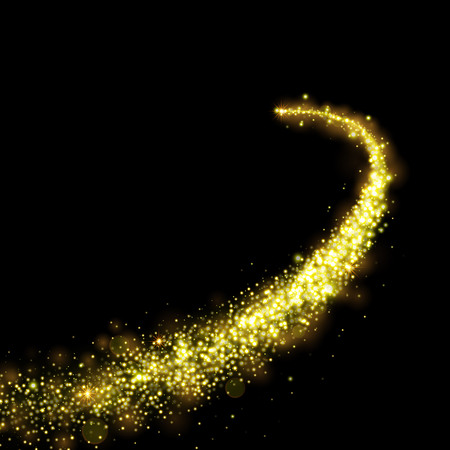 Gold glittering stars dust trail sparkling particles on black background. Space comet tail. Vettoriali