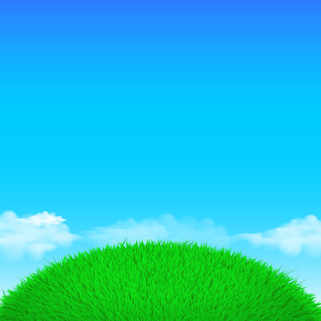 cartoon banner: Vector Spring eco poster illustration of grass globe ball with clouds  on bright blue sky background