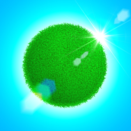 bright sun: Vector Spring eco poster illustration of grass globe with sun rise on bright blue sky background