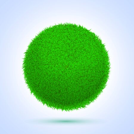 Vector Spring eco poster illustration of grass globe with sun rise on white background