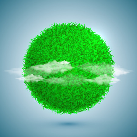 lensflare: Vector Spring eco poster illustration of grass globe with clouds on bright blue sky background