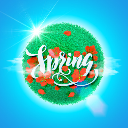 blue petals: Vector spring hand drawn greeting card. Calligraphy lettering design with grass globe and red flower blossom petals on blue sky background. Illustration
