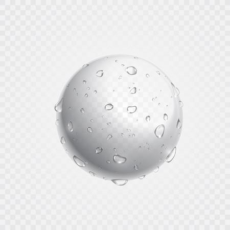 Zuivere heldere water druppels op bol oppervlak. Vector illustratie van realistische druppels spuiten in de transparante achtergrond. Verse drank splash concept.