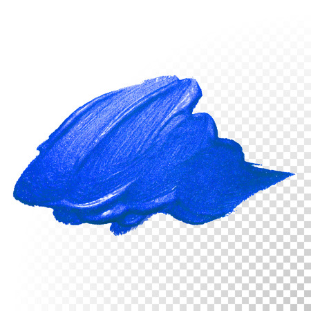 Deep blue watercolor brush stroke. Abstract shape. Vector oil paint smear on  transparent background