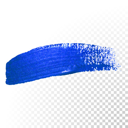 transparent brush: Deep blue watercolor brush stroke. Abstract shape. Vector oil paint smear line on  transparent background