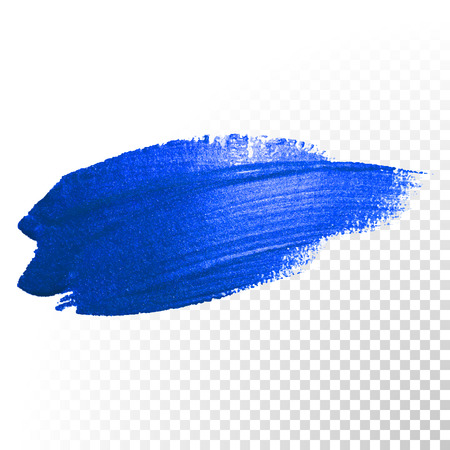 Deep blue watercolor brush stroke. Abstract shape. Vector oil paint smear line on transparent background Imagens - 52538081