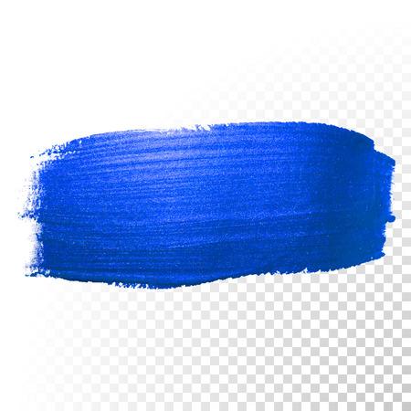 Profondo blu spazzola dell'acquerello ictus. forma astratta. Vector pittura ad olio striscio linea su sfondo trasparente Vettoriali