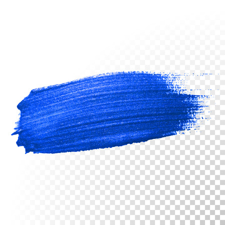 oil paint: Deep blue watercolor brush stroke. Abstract shape. Vector oil paint smear line on transparent background