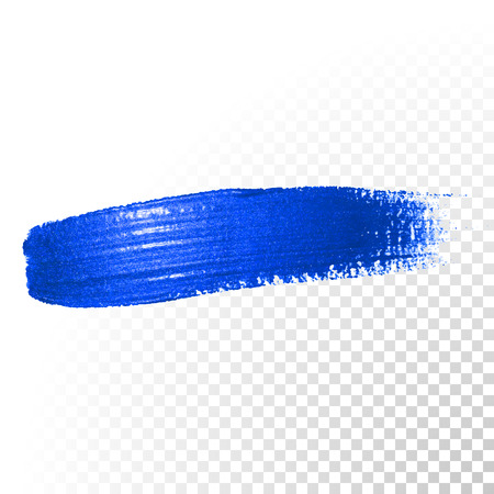 Deep blue watercolor brush stroke. Abstract shape. Vector oil paint smear line on transparent background