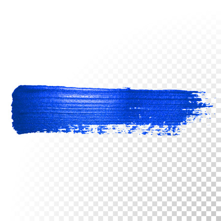 paint drip: Deep blue watercolor brush stroke. Abstract shape. Vector oil paint smear line on  transparent background