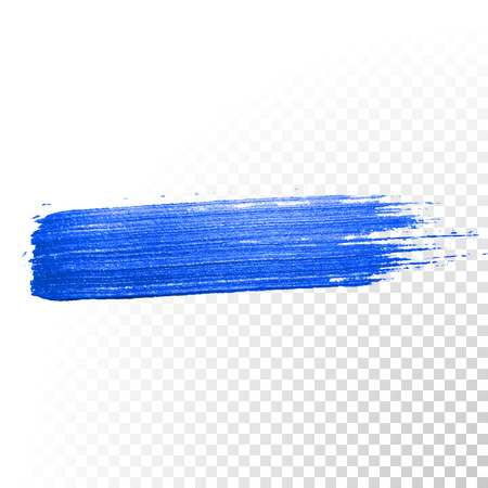 paintbrush: Deep blue watercolor brush stroke. Abstract shape. Vector oil paint smear line on  transparent background