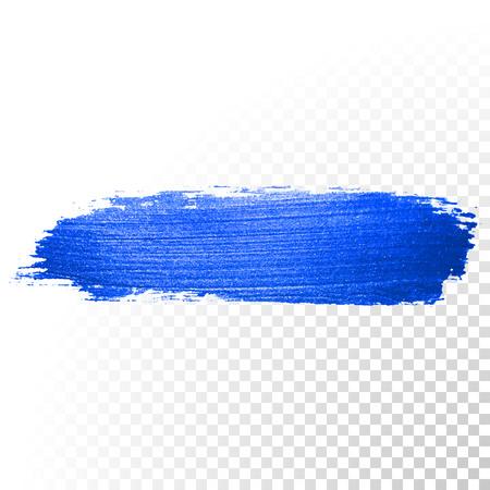 Azul profundo trazo de pincel de acuarela. Resumen de la forma. Vector de la línea de pintura de aceite mancha en el fondo transparente
