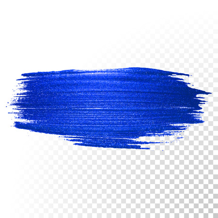 brush: Deep blue watercolor brush stroke. Abstract shape. Vector oil paint smear line on transparent background