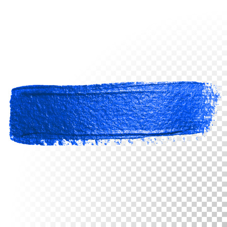 Deep blue watercolor brush stroke. Abstract shape. Vector oil paint smear line on white background