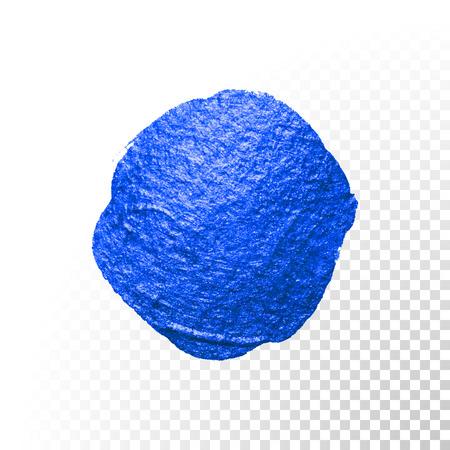 blob: Deep blue watercolor brush blob stroke. Abstract circle shape. Vector oil paint blot smear on transparent background