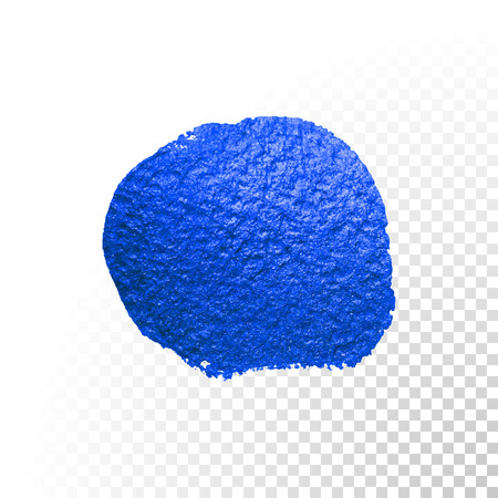 Deep blue watercolor brush blob stroke. Abstract circle shape. Vector oil paint blot smear on transparent background