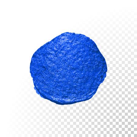 Deep blue aquarel penseel blob beroerte. Abstracte cirkelvorm. Vector olieverf vlek vlek op transparante achtergrond Vector Illustratie