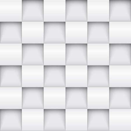 wall: Vector white tile pattern panel background. Seamless geometric twisted design. 3D texture interior wall panel for graphic or website template layout. Illustration