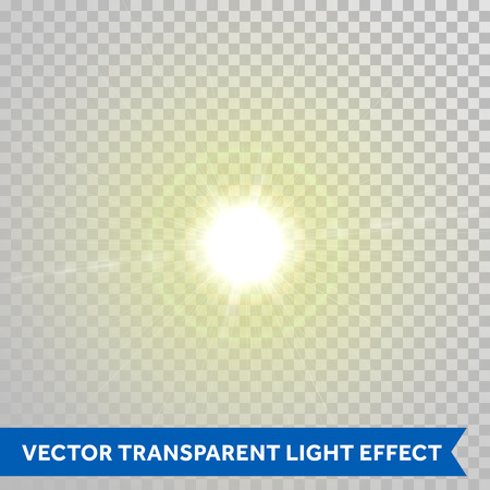 glowing star: Vector shining sunlight magic spark. Glaring star with lens flare optical effect. Glowing sunlight isolated on transparent background