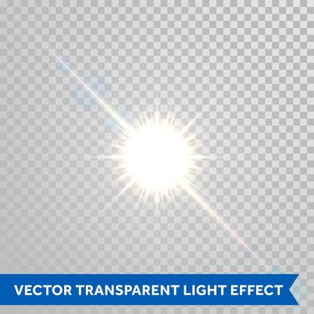 Vecteur magique reflets du soleil effet. étincelles de soleil avec lens flare lumière rayonnante. incandescent brillant éclair de lumière isolé sur fond transparent Vecteurs