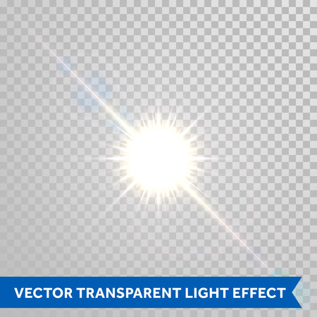 Vector magic sunlight glare effect. Sunshine sparks with lens flare radiant light. Bright glowing light flash isolated on transparent background