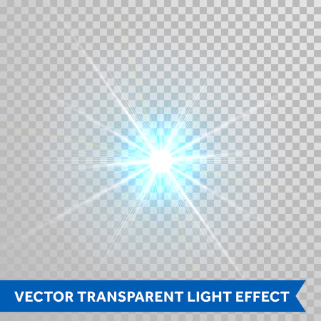 radiance: Vector star light radiance. Sparkling particle with glaring lens flare beams. Bright light flash isolated on transparent background