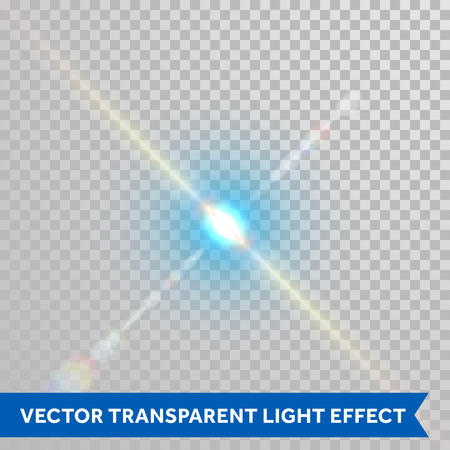 starlet: Vector defocused shining ray of light. Twinkling sunlight spark. Bright glaring light flash with lensflare optical effect isolated on transparent background Illustration