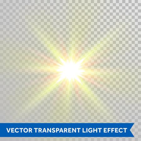 Vector star éblouissante lumière. Mousseux été chaud soleil rayons brillants de lens flare effet. Glaring éclair de lumière isolé sur fond transparent