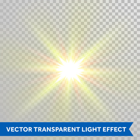 Vector star light glare. Sparkling summer hot sun rays shining with lens flare effect. Glaring light flash isolated on transparent background