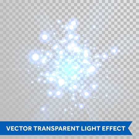 Vector firework blaze sparks with bokeh optical effect. Blue glowing particles of light. Shimmer scatter on transparent background