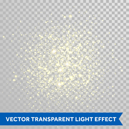 sun light: Vector shimmering sparks particles of fireworks explosion. Glittering light effect. Twinkling lights spray on transparent background.