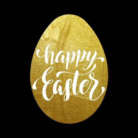 golden texture: Happy Easter poster luxury golden egg on black background. Vector illustration with calligraphy lettering title