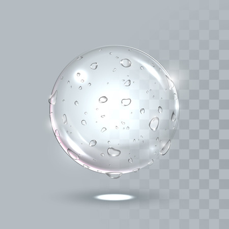 Vector water drops on sphere surface. Pure clear crystal ball with dew droplets. Vector illustration of realistic droplets spray on transparent background. Fresh beverage splash concept.