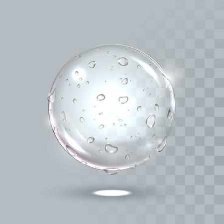 Vector waterdruppels op boloppervlak. Zuivere kristalkogel met dauwdruppels. Vector illustratie van realistische druppelspray op transparante achtergrond. Verse drank splash concept.
