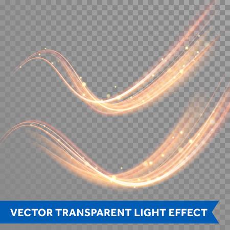 Vector magie éclatante étincelle tourbillon effet sentier trace sur fond transparent. ligne d'onde Bokeh glitter avec le vol des lumières flash mousseux.