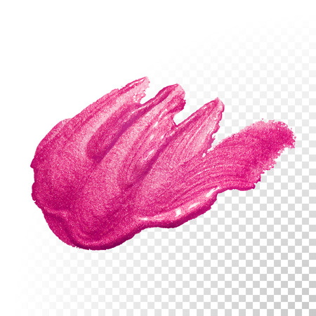 cosmetic lacquer: Vector pink watercolor brush stroke. Polish splash line trace. Abstract shape red oil paint smear on transparent background.