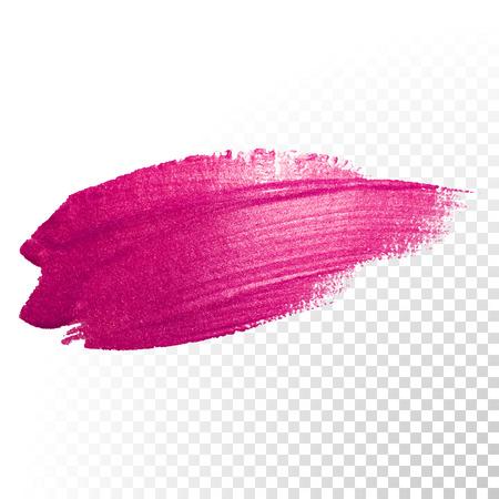 Vector trazo de pincel de acuarela de color rosa. traza la línea salpicaduras polaca. Resumen forma de pintura de aceite rojo mancha en el fondo transparente. Ilustración de vector
