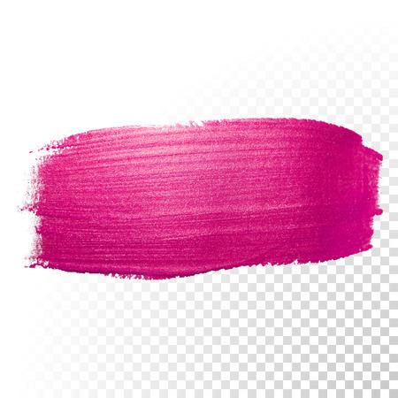 Vector trazo de pincel de acuarela de color rosa. traza la línea salpicaduras polaca. Resumen forma de pintura de aceite rojo mancha en el fondo transparente.
