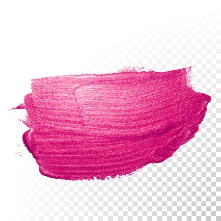 Trazo de pincel acuarela rosa de vector. Trazo de línea de salpicadura polaca. Mancha de pintura de aceite rojo de forma abstracta sobre fondo transparente.