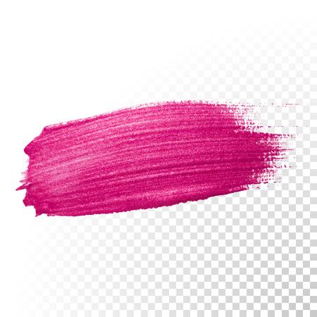 ベクター ピンク水彩ブラシ ストローク。ポーランド スプラッシュ ライン トレース。透明な背景に抽象的な形の赤いオイル ペイント汚れ。