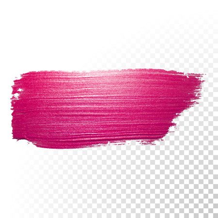 Vector trazo de pincel de acuarela de color rosa. forma traza salpicaduras esmalte abstracto. Línea roja del frotis de pintura al óleo sobre fondo transparente Ilustración de vector