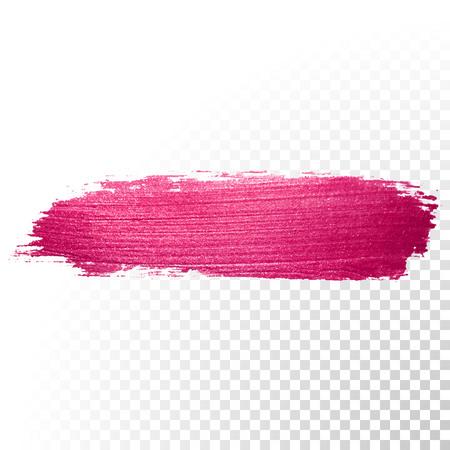 Vector trazo de pincel de acuarela de color rosa. forma traza salpicaduras esmalte abstracto. Línea roja del frotis de pintura al óleo sobre fondo transparente