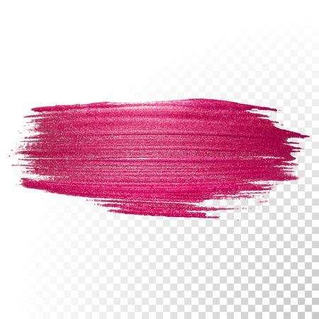 Vector rosa pennellata acquerello. Estratto polacco forma spruzzata traccia. Linea rossa striscio pittura ad olio su sfondo trasparente Vettoriali