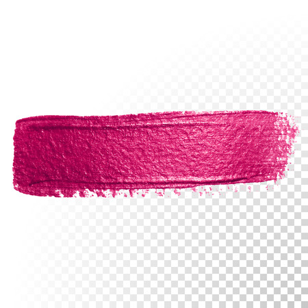 cosmetic lacquer: Vector pink watercolor brush stroke. Abstract polish splash trace shape. Red oil paint smear line on transparent background
