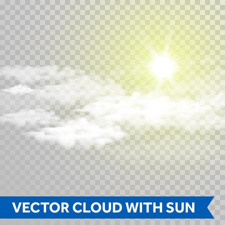 Vector Sonne mit Wolken glänzen. Lens Flare Lichtstrahl .. Glühende Sonne Strahl grell isoliert auf transparentem Hintergrund