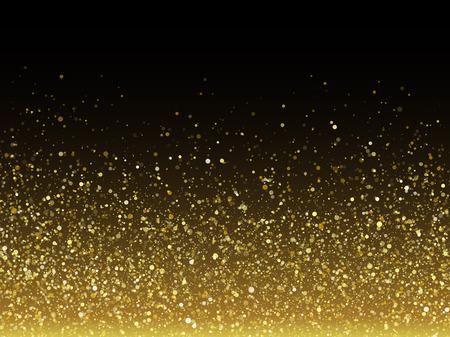 Vector partículas brillo del oro con efecto de textura brillante estrella de la tarjeta de felicitación rica de lujo. Resplandeciente salpicaduras. polvo de estrellas chispas en explosión en fondo negro. Ilustración de vector
