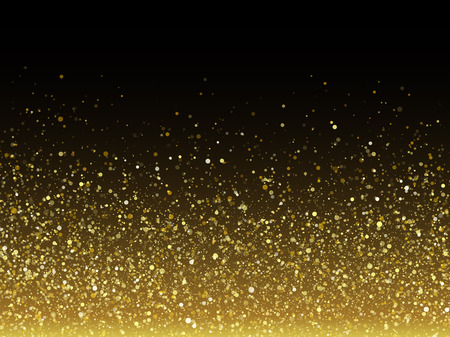 Vector gold glitter particles with sparkling star texture effect for luxury greeting rich card. Glittering spatter. Star dust sparks in explosion on black background.